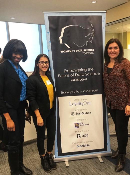 Michallia, Prabhavi, and Hanadi at WiDS Conference.