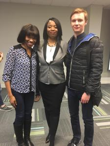 Digital Business students, Michallia and Artem with Alumni, Atiya Roach,